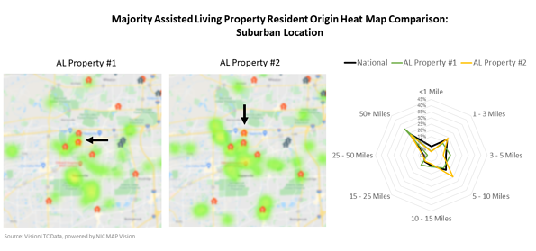Majority Assisted Living Property/Resident Heat Map Comparison
