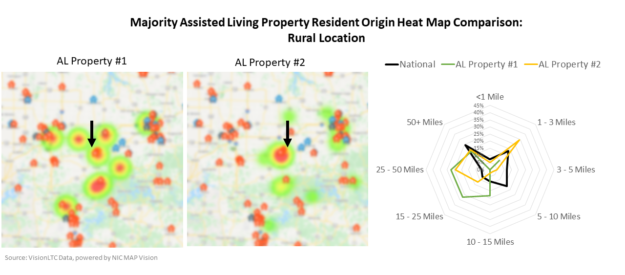 Majority Assisted Living Property/Resident Origin Heat Map Comparison